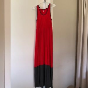 Red Colorblock Trim Maternity Maxi Dress